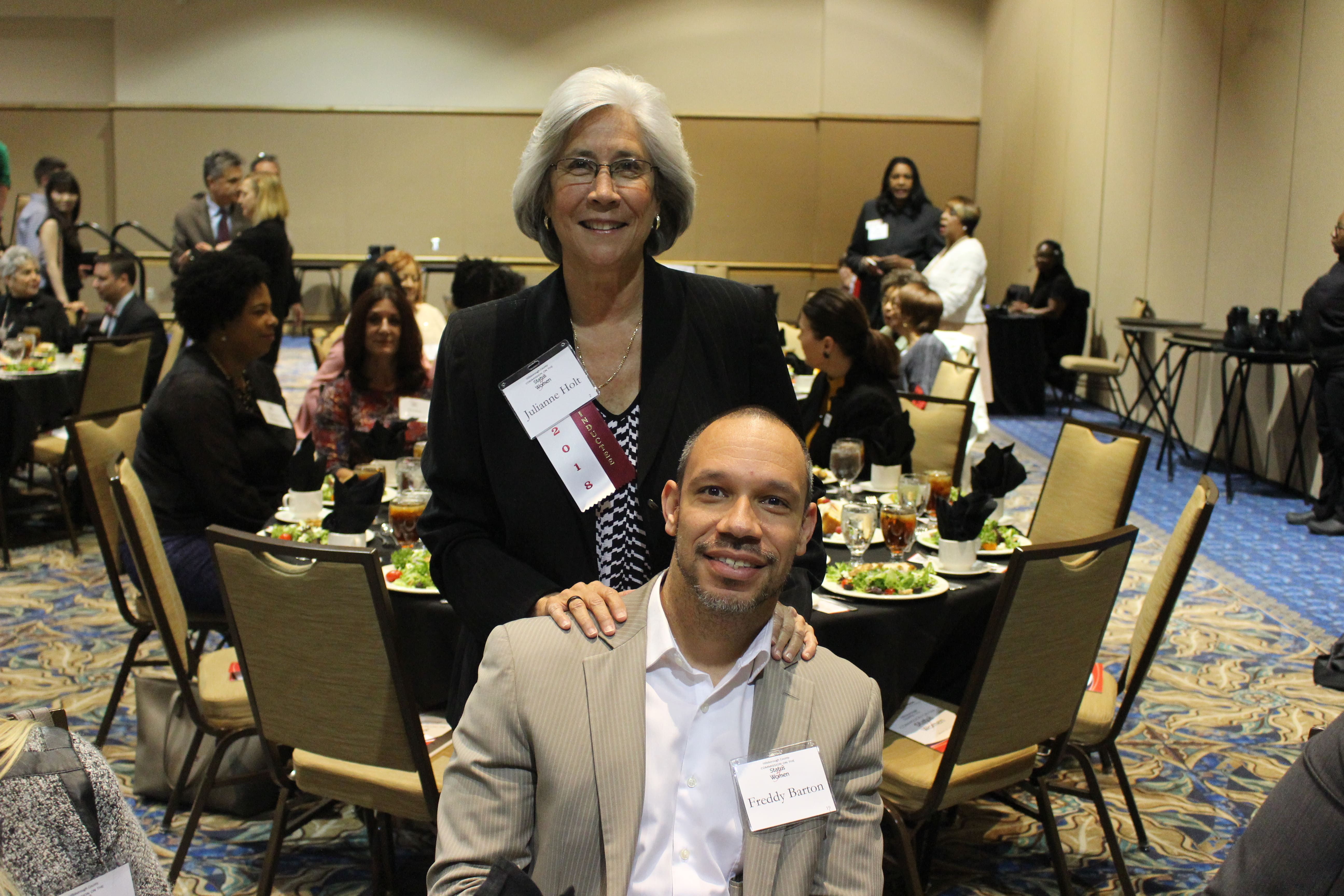 Julie Holt and Freddy Barton, Executive Director of Safe & Sound, at the Women's Hall of Fame luncheon honoring Ms. Holt                     and her contributions to improving the lives of women and residents of Tampa Bay