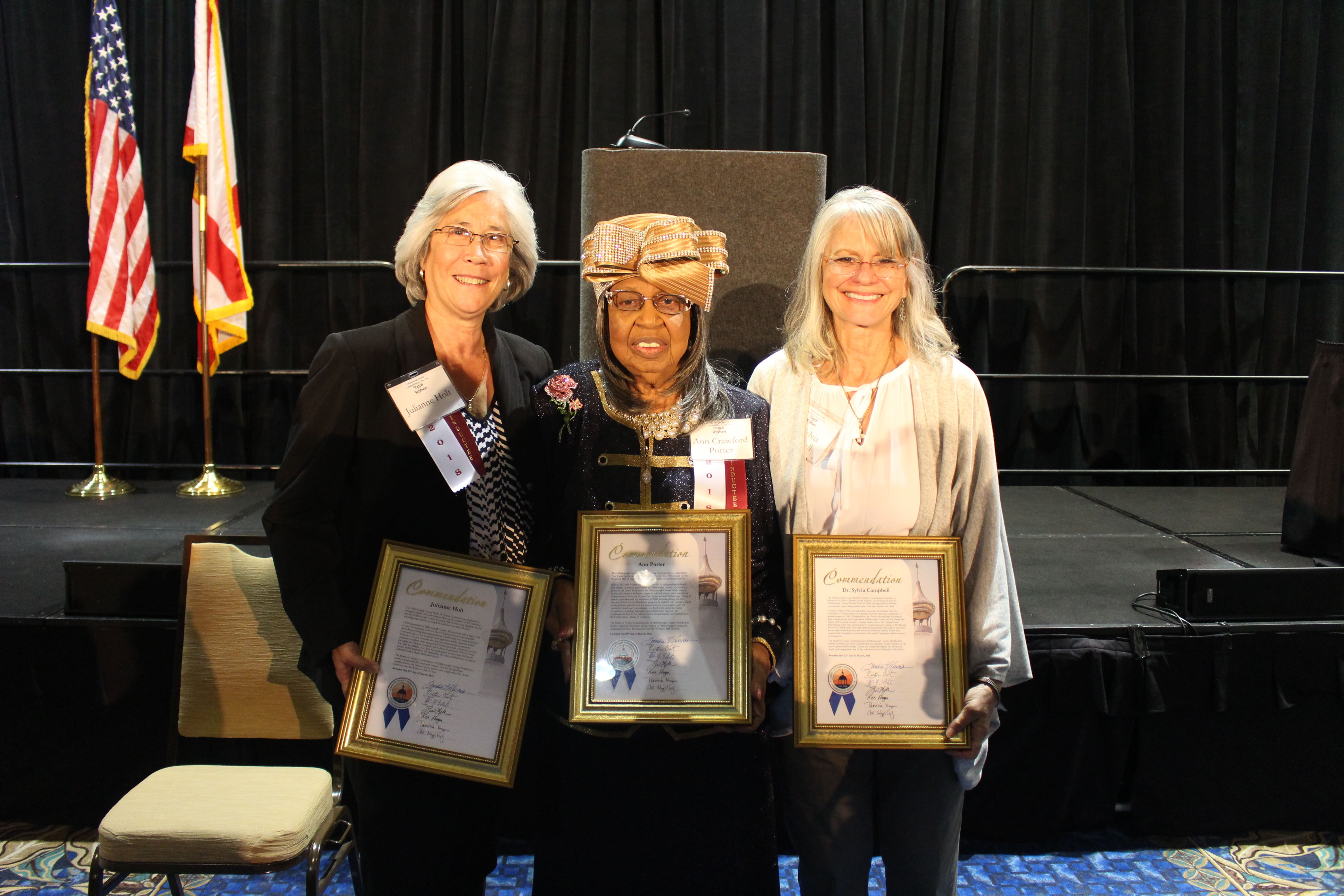 The 2018 inductees of the Women's Hall of Fame: Ms. Holt, Ms. Ann Porter, and Dr. Sylvia Campbell.